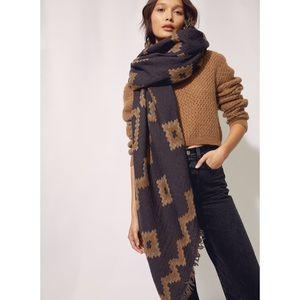 Aritzia Wilfred Diamond Mosaic Wool Blanket Scarf